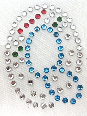 Letter Q Hot Fix Iron-On Heat Transfer with Multi-Color Rhinestones 2""