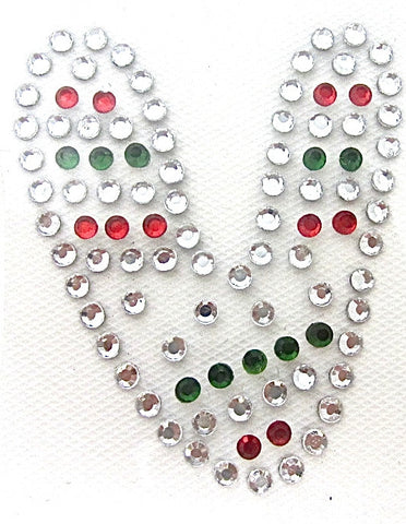 Letter V Hot Fix Iron-On Heat Transfer with Multi-Color Rhinestones 2""