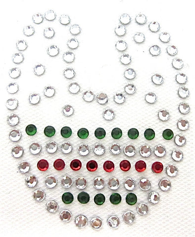 Letter U Hot Fix Iron-On Heat Transfer with Multi-Color Rhinestones 2""
