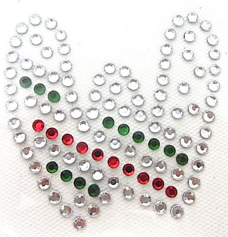 Letter W Hot Fix Iron-On Heat Transfer with Multi-Color Rhinestones 2""