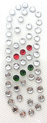Letter I Hot Fix Iron-On Heat Transfer with Multi-Color Rhinestones 2""