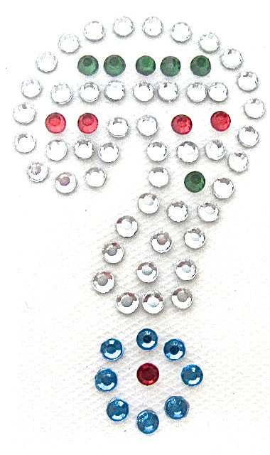 Punctuation Question Mark Hot Fix Iron-On Heat Transfer with Multi-Color Rhinestones 2""