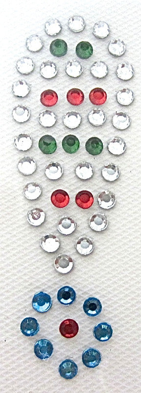 Exclamation Point Hot Fix Iron-On Heat Transfer with Multi-Color Rhinestones 2""
