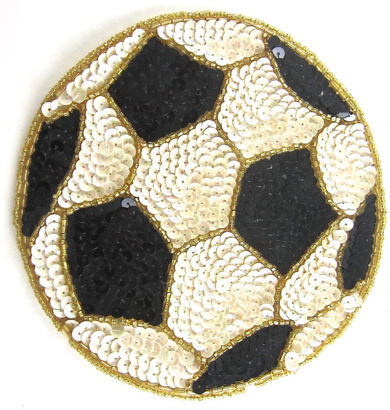 Soccer Ball with Gold Beads Cream and Black Sequins 6.5""