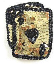 "Load image into Gallery viewer, Ace King Heart Playing Card with Gold Sequins and Black Beads  2.75"" x 2.25"" - Sequinappliques.com"