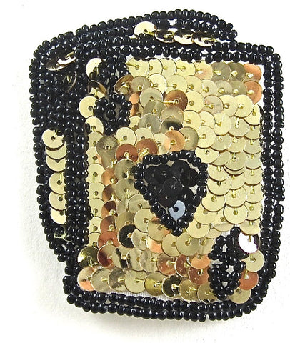 "Ace King Heart Playing Card with Gold Sequins and Black Beads  2.75"" x 2.25"""