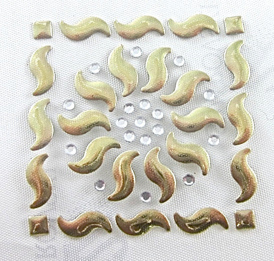 Designer Motif with Gold and Crystals Transfer 1.5""