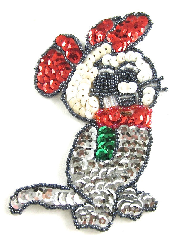 "Mouse with Red Silver Red Grey Sequins and Beads 4.5"" x 3"""