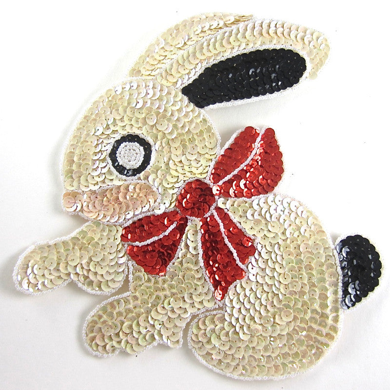 "Rabbit with Multi-Colored Beige Sequins Red Bow 9"" x 8"""