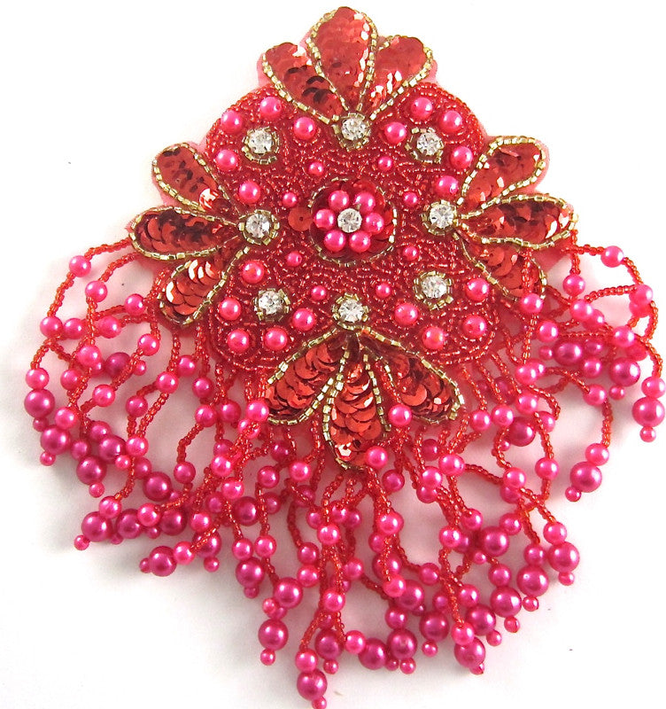"Epaulet with Fuchsia, Red and Gold Sequins and Beads with Rhinestones 7.5"" x 5"""