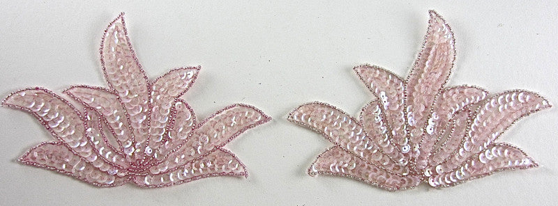"Leaf Pair with Iridescent Pink Sequins and Beads 5"" x 6.5"""