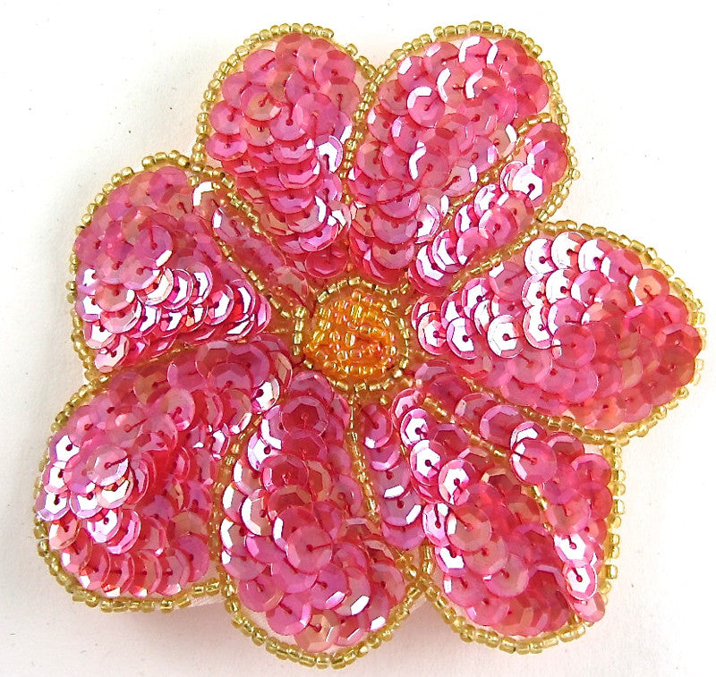 Flower with Fuchsia Orange Gold Sequins and Beads 4""