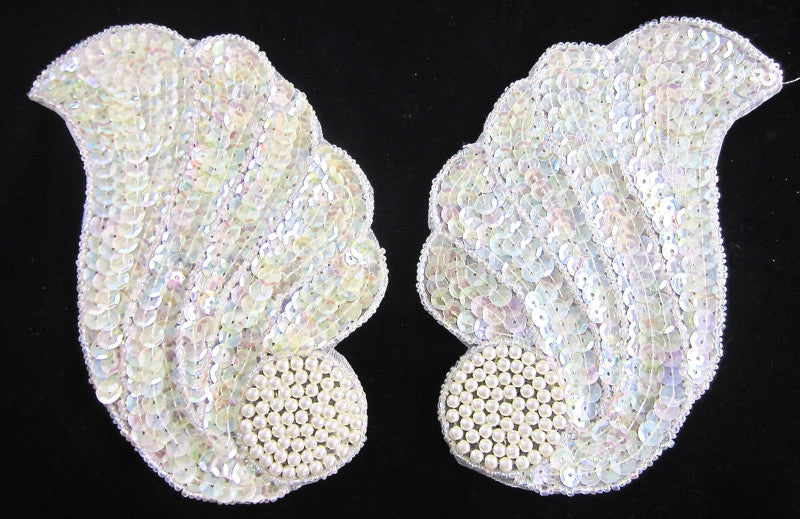 "Designer Motif Wave Pair with Iridescent Sequins and Beads 5.25"" x 4"""