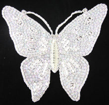 "Load image into Gallery viewer, Butterfly Large White Iridescent Sequins and Rhinestones 10.5"" x 8.5"""