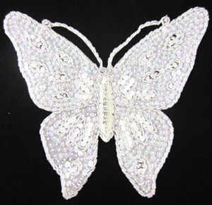 "Butterfly Large White Iridescent Sequins and Rhinestones 10.5"" x 8.5"""