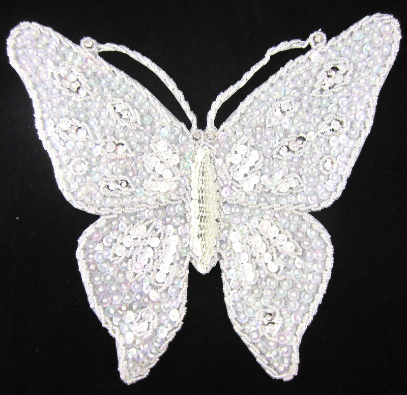 Butterfly Large White Iridescent Sequins and Rhinestones 10.5