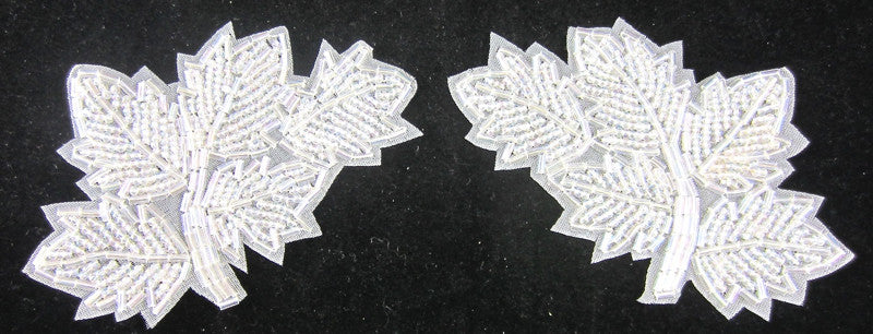 Leaf Iridescent Beaded Pair 4