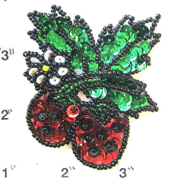 "Strawberries with Leaf, Sequin Beaded 2.5"" x 2.5"""