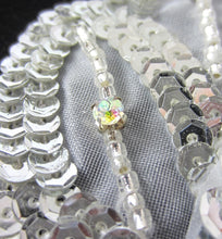 "Load image into Gallery viewer, Leaf with Triple-Layer Sequins and AB Rhinestones 7"" x 5"""