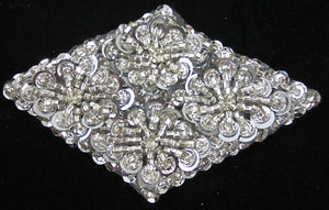 "Designer Motif Jewel with Silver Beads 4.5"" x 3"""