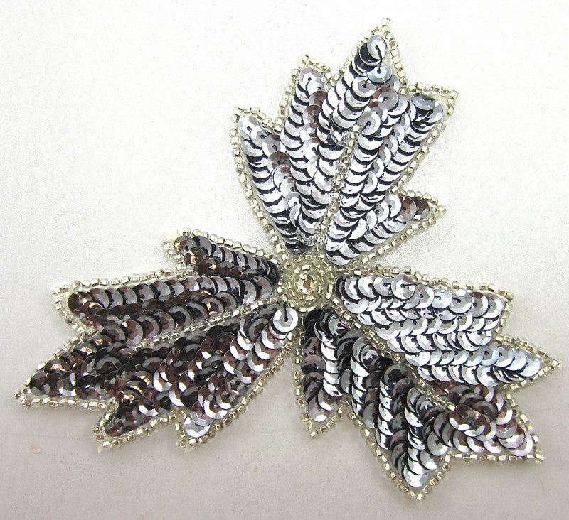 "Leaf with Silver Sequins and Beads Rhinestone 5"" x 4"""