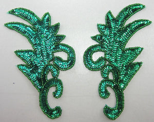 "Leaf pair with Green Sequins and Beads 8"" x 4"""