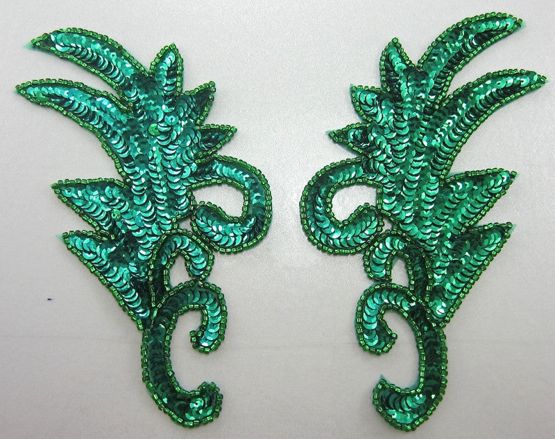 Leaf pair with Green Sequins and Beads 8