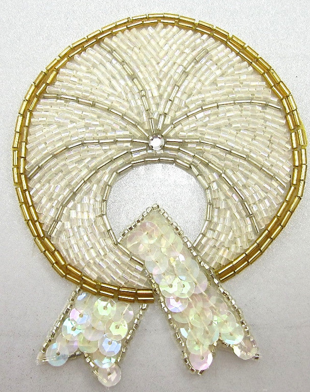 "Designer Motif With  Gold iridescent Sequins Beads and Rhinestone 4.25"" x 3.5"""