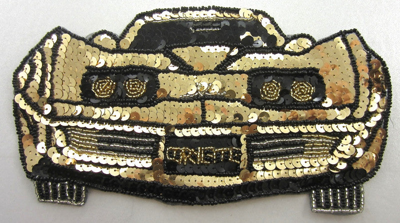 "Corvette 1970's Era with Gold and Black Sequins and Beads 5""x 9"""