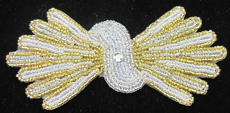 "Designer Motif Bow Shaped with Gold and Silver Beads and Rhinestone 2.5"" X 5.25"""