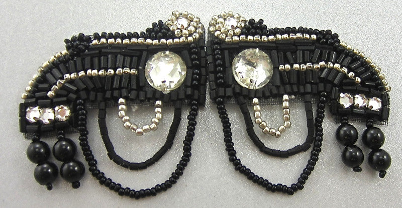 "Embellishment with Hook and Eye Clasp, Black, Silver Beads and Rhinestones 2"" x 1"" each pc"