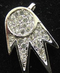 "Designer Motif Necklace Pendant with Silver and Rhinestones 1"" x .5"""