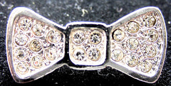 "Necklace Pendant Bow with Silver and Rhinestones 1"" x .5"""
