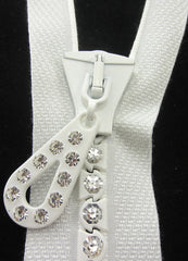 "ZIPPER  White  23 rhinestones and the color of the zipper is white.10"" long, 1.5"" wide,"