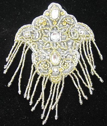 "Designer Motif Epaulet White Background with Rhinestones and Gold and Silver Beads 5"" x 3.25"""