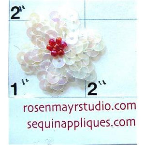 Flower with White Sequins red bead centers.