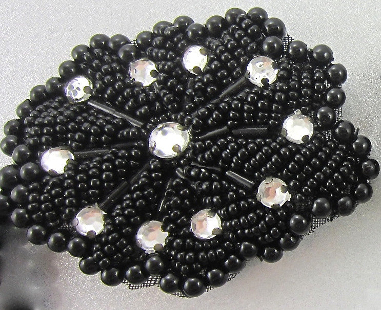 "Desiginer Motif Jewel with black Sequins and rhinestones 2.75"" x 2"""