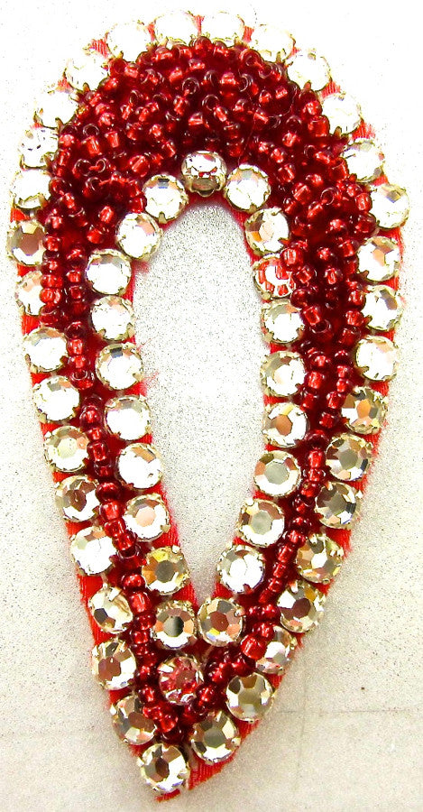 Designer Motif Tear Drop with Red Beads and Rhinestones 3""