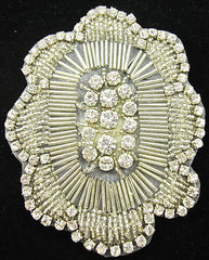 "Designer Motif with Silver Beads and High Quality Rhinestones 4.25"" x 3.5"""