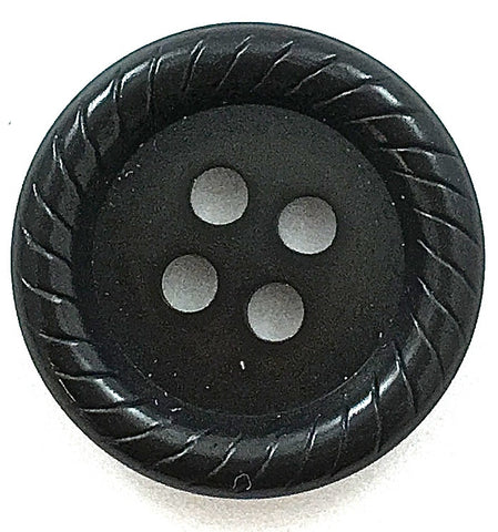 "Button in Two Sizes Black with Rope Pattern Edges 1"" and 3/4"""