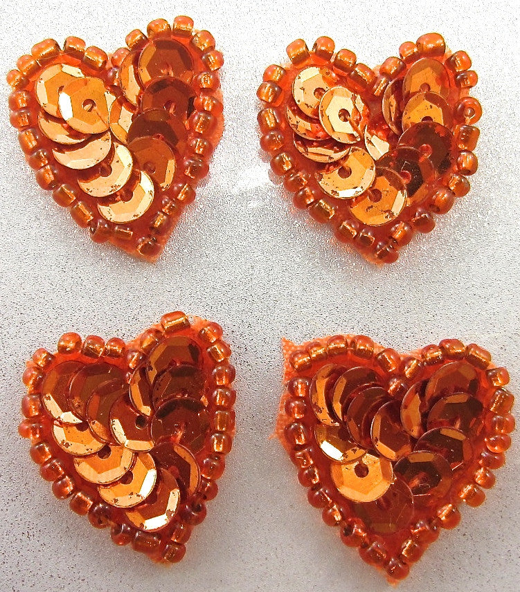 Hearts set of Four  with Orange Sequins and Beads 7/8'