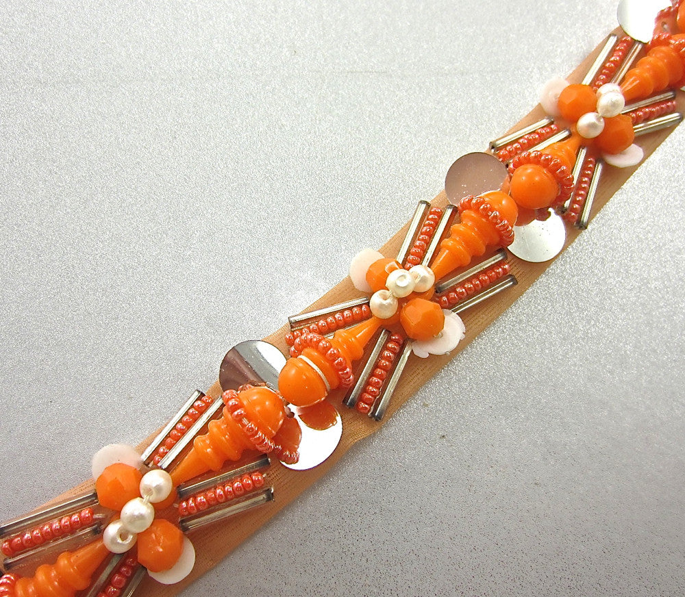 "Trim with Raised Orange and White Beads Silver Sequins 1"" Wide"