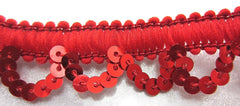 "Trim with Loop Cotton and Red Sequins 3/4"" Wide"