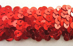 "Trim Red Three Row Sequin Stretch 15"" x 1.5"" Remnant"