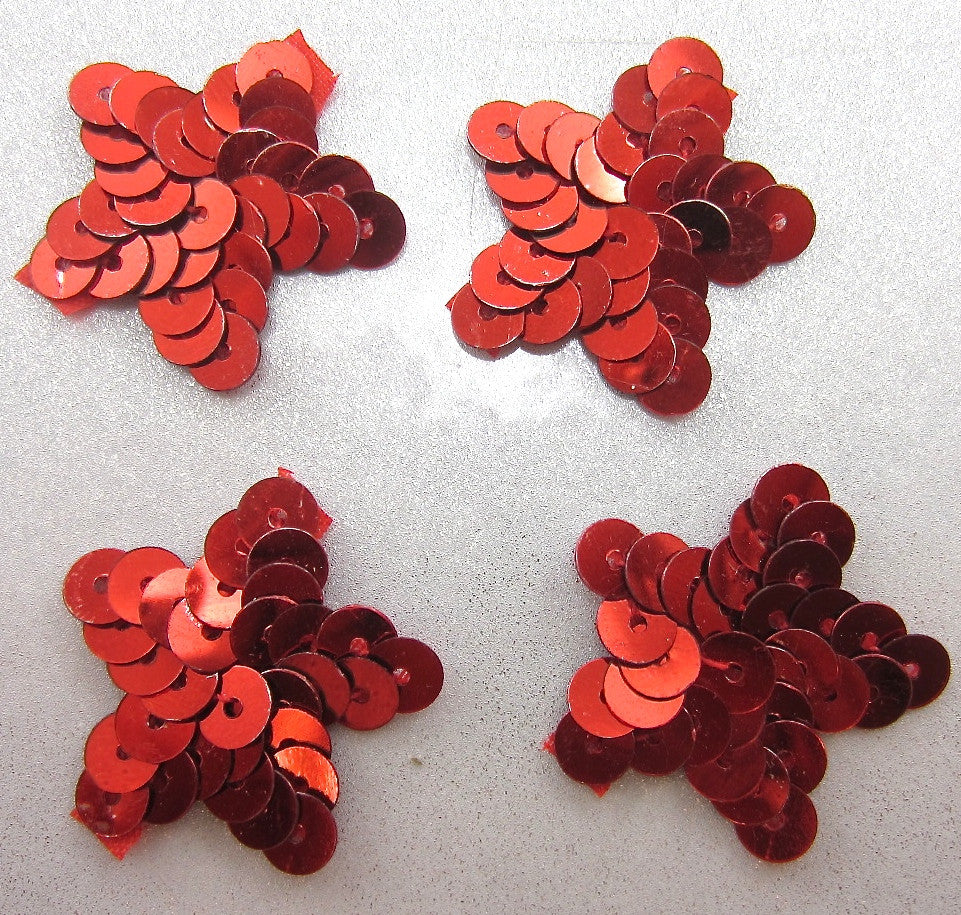 Star Set of Four with Red Sequins 1""