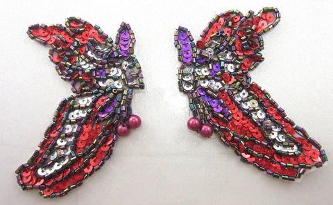 "Butterfly Pair with Mardi Gras Multi-Colored Sequins and Beads 3.5"" x 2"""