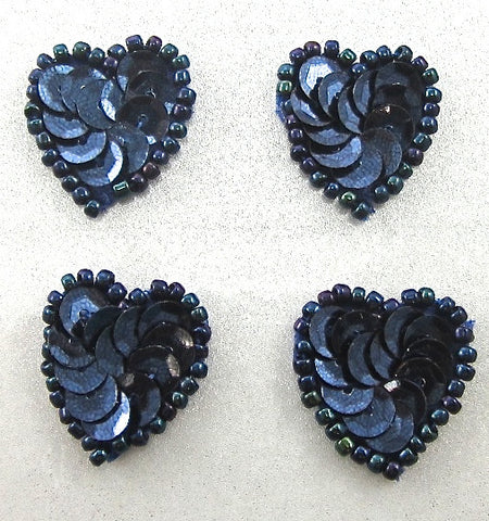 Heart Set of Four Dark Navy Blue Sequins and Beads 1""