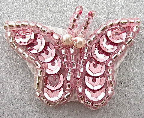 "Butterfly with Pink Sequins and Beads 1"" x 1.5"""