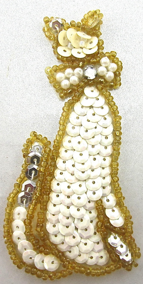 "Cat with pearl Bow and White Sequins Gold Beads 3.5"" x 1.5"""