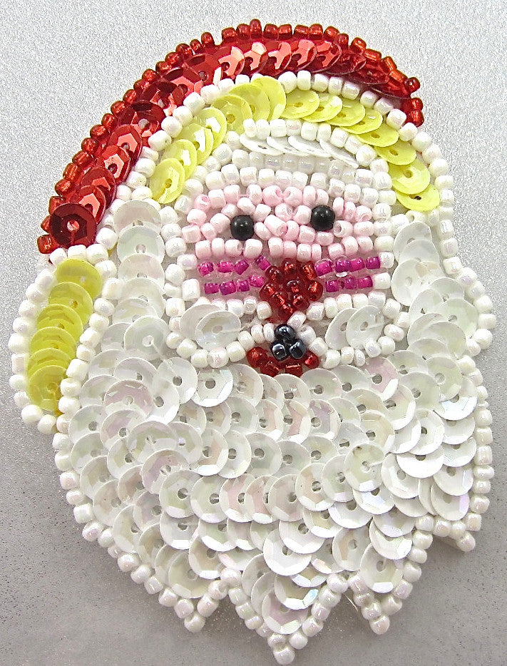 "Santa Face with White Beard 2.75"" x 2"""